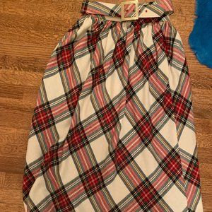 Vintage Wool Plaid Maxi Skirt with Matching Belt